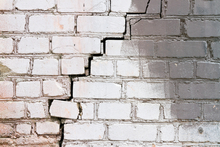 cracked wall as a result of nearby construction